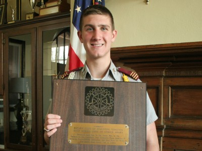 Fishburne Military School Cadet Logan Amico (Pittsgrove, NJ) was honored with the Staunton (VA) Rotary Club Ethics Award